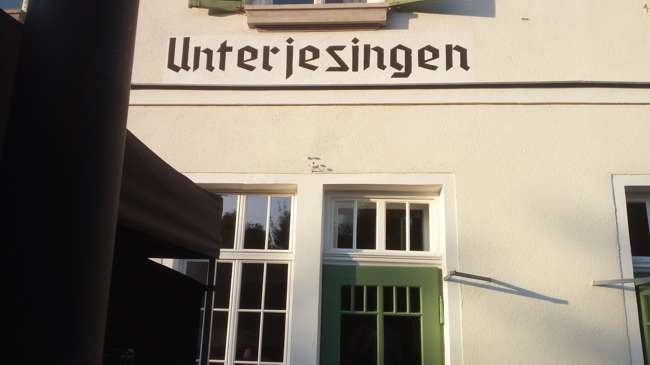 seminarhaus unterjesingen, bahnhof, schild