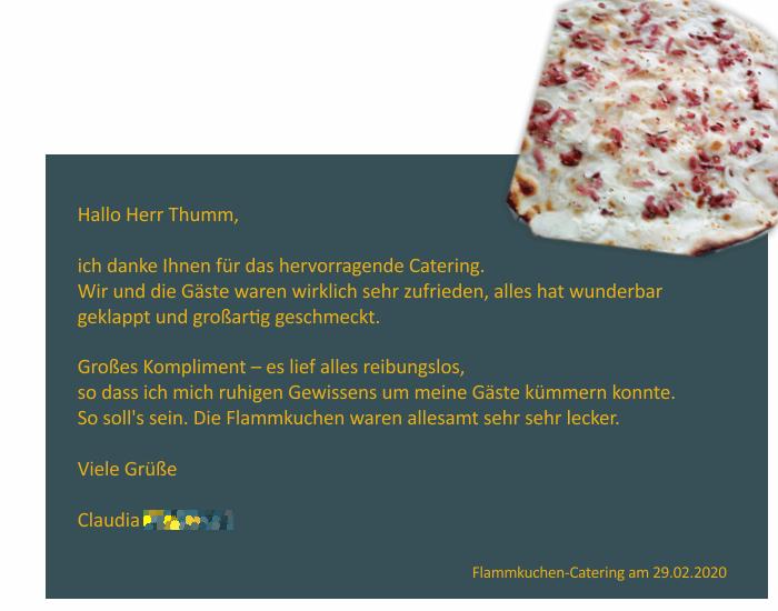 Referenz vom Flammkuchen-Catering am 29.02.2020